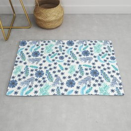 Watercolour Blu Leaves and Flowers Rug