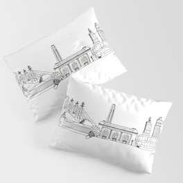 Kansas City Skyline Illustration Black Line Art Pillow Sham