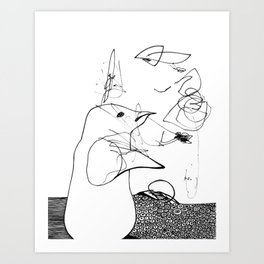 confused penguin Art Print