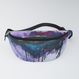 Dawn, pink and fushia black and blue acrylic abstract artwork Fanny Pack