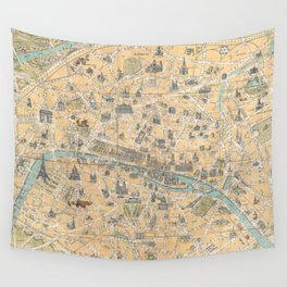 Vintage Map of Paris France (1890) Wall Tapestry