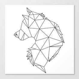 Geometric Wolf (Black on White) Canvas Print