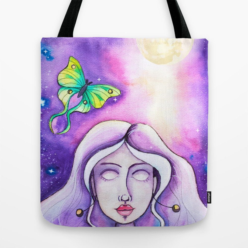 Moon Goddess - Watercolor Whimsical Girl With Luna... Tote Purse by Natashalh (TBG9779299) photo