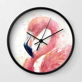 Pink Flamingo Watercolor Wall Clock