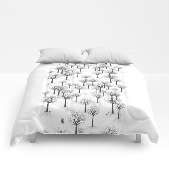Winter Forest - Bunnies and Hound / by Friztin Comforters