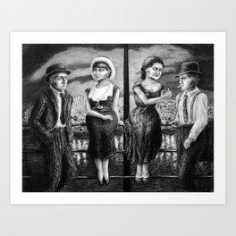 Double Date - charcoal drawing - romantic cute Art Print