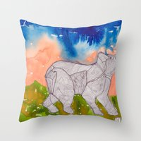 northern lights Throw Pillows featuring Northern Lights by Dawn Patel Art