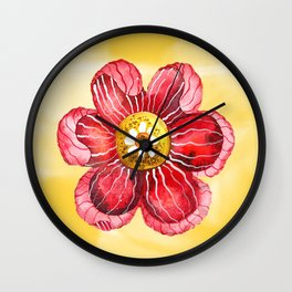 Red Flower Wall Clock