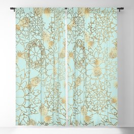Modern teal faux gold pineapple floral illustration Blackout Curtain