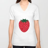 strawberry V-neck T-shirts featuring Strawberry by Dpat Designs
