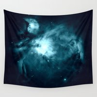 nebula Wall Tapestries featuring Orion nebula : Teal Galaxy by 2sweet4words Designs