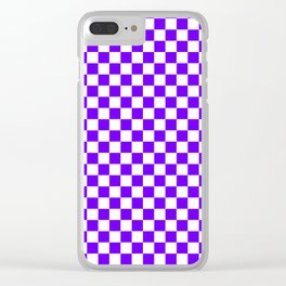 White and Indigo Violet Checkerboard Clear iPhone Case