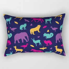 Colorful Wild Animal Silhouette Pattern Rectangular Pillow
