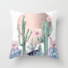 Desert Sun Cactus + Succulents Bronze on White Throw Pillow