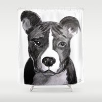 pit bull Shower Curtains featuring Pit Bull Dogs Lovers by Gooberella