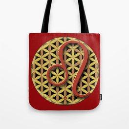 Flower of Life LEO Astrology Design Tote Bag