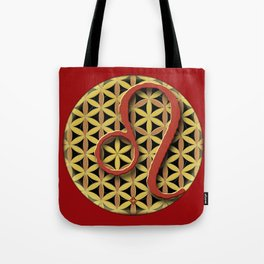 LEO Flower of Life Astrology Design Tote Bag