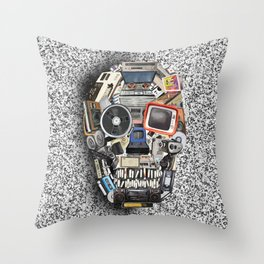 retro tech skull 5 Throw Pillow