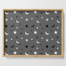 Grey background with black and white moon and star pattern Serving Tray