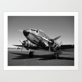 Douglas DC-3 Dakota Chrome Art Deco Airplane black and white photograph / art photography by Brian Burger Art Print