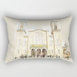 Sketch of the main christian orthodox Metropolitan Cathedral of whole Greece in Athens Rectangular Pillow