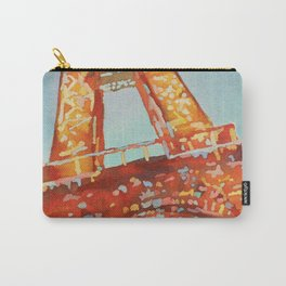 Blue orange painting of the Eiffel Tower in Paris, France.  France art Carry-All Pouch
