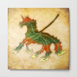 Unicorn Leaf Metal Print