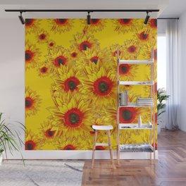 Golden Color Red Center Yellow Sunflower Art Wall Mural