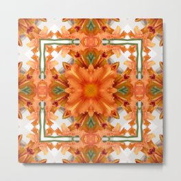 Abstract kaleidoscope of a beautiful day lily Metal Print