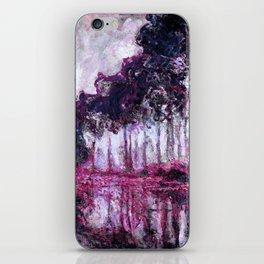 Monet Poplars on the Banks of the River Epte Purple Magenta iPhone Skin