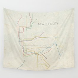 Minimal New York City Subway Map Wall Tapestry