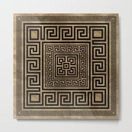 Greek Key Ornament - Greek Meander -Black on gold Metal Print
