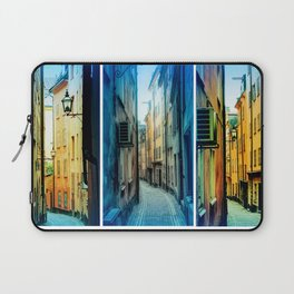 Triptych photos of alleyways in Stockholm. Laptop Sleeve