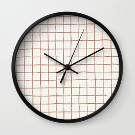 Imperfect Grid in Ivory and Clay Wall Clock