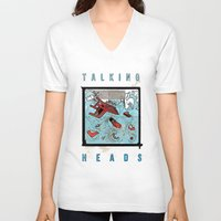 talking heads V-neck T-shirts featuring Talking Heads Limited Edition Music Poster Print by Nick Howland