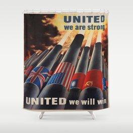 Vintage poster - Allies Shower Curtain