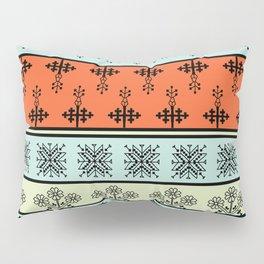 folk embroidery, flowers, birds, peacocks, horse, symbols earth, sun fertility, harvesting Pillow Sham