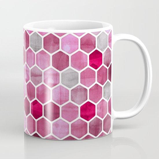 Pink Ink - watercolor hexagon pattern Mug