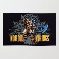 vikings Area & Throw Rugs featuring Nordic Vikings by TsHirtZmaNia