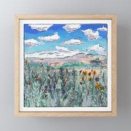 Colorado Plains Landscape Illustration Framed Mini Art Print