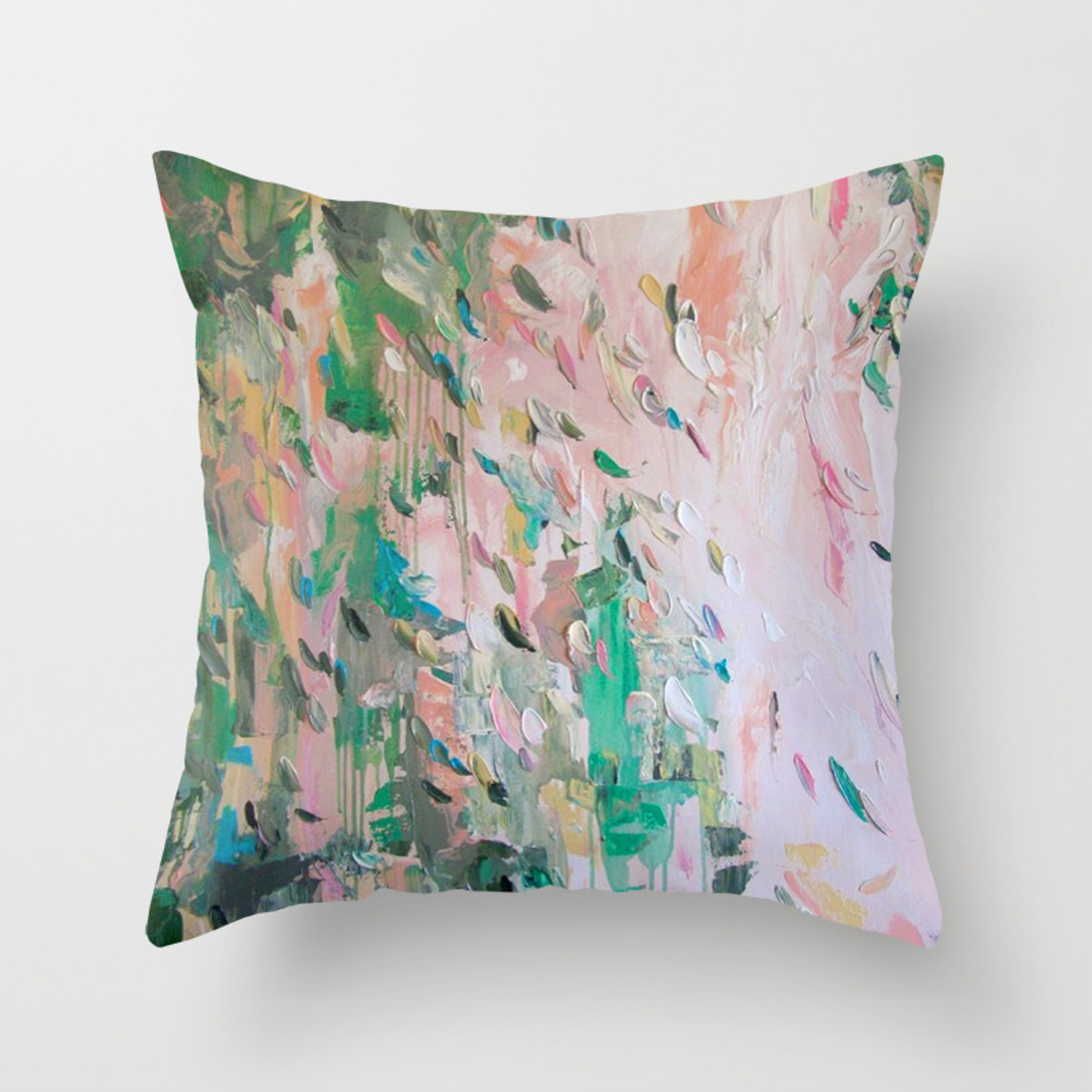 Abstract   emerald green & pink Throw Pillow by tatgeorgieva
