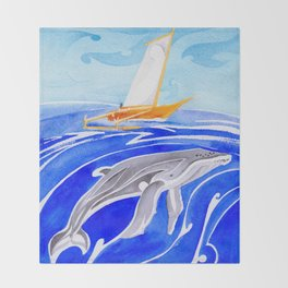humpback whale and polynesian outrigger sail boat Throw Blanket