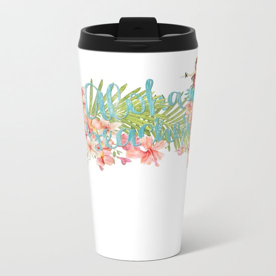 Aloha- Alohabeaches with tropical flowers Palm leaf and Hula Girl Metal Travel Mug