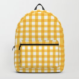Orange Yellow Checkered Pattern Backpack