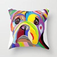 english bulldog Throw Pillows featuring Bulldog by EloiseArt