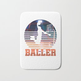 Basketball Coach MVP Dribbling Ring Court Basketball Player Baller Gift Bath Mat