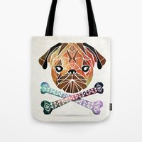pug Tote Bags featuring pug by Manoou