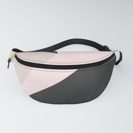 Geometrical pastel pink black white abstract triangles Fanny Pack