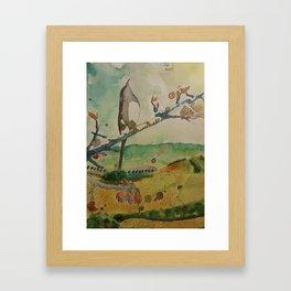 Phantasy bird on imaginary treebranch Framed Art Print