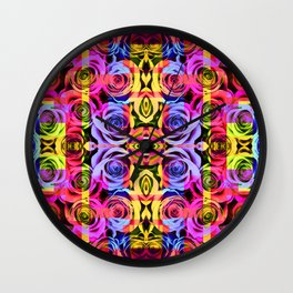 Abstract Roses - Yellow Wall Clock